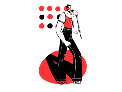 Tribute to the legend character illustration drawing ipad vector legend scene music tribute queen freddy mercury