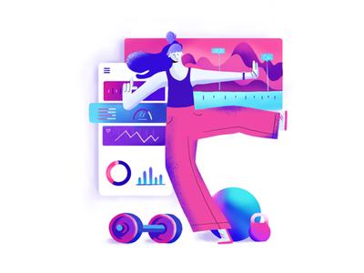 Fitness app fitness app neon vibrant illustration girl health workouts gym fitness