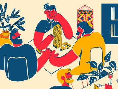 Lima Aarhus restaurant vector boardgame peru flat illustration design branding 2d