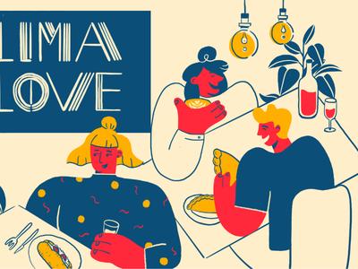 Lima Aarhus denmark aarhus character hygge food peru vector design branding 2d restaurant illustration