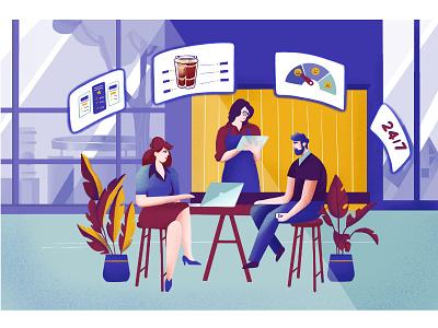 Digital customer experience customer service character design illustrator digital denmark aarhus plants coffeeshop coffee ux experience customer illustration