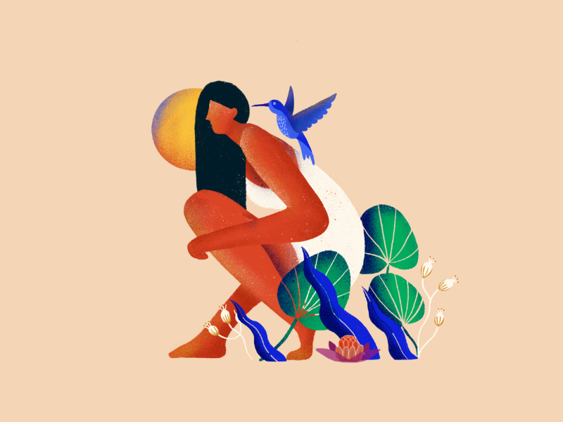 Where the Crawdads Sing moon bird plants aarhus procreate vector girl wild jungle book illustrator