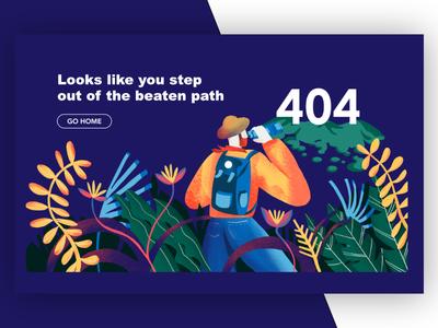 Lost page 404 typography branding error page procreate vector jungle travel lost 404 page error 404