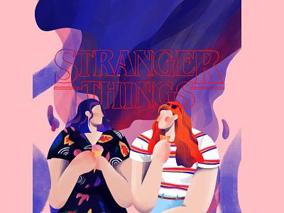 Stranger things abstract 80s fanart procreate challenge nordic aarhus denmark illustration stranger things friendship netflix eleven strangerthings