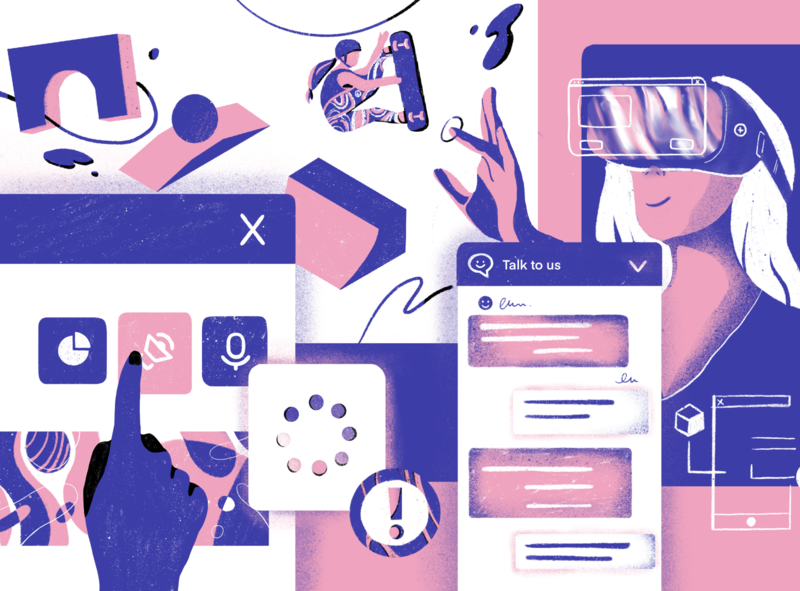 UI trends for 2020 chatbox skateboard mobile character illustrator aarhus artificial intelligence technology trends user uiux ui