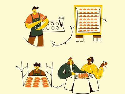 Journey of empanadas denmark aarhus girl restaurant cook kitchen food peruvian empanadas illustrator branding character illustration