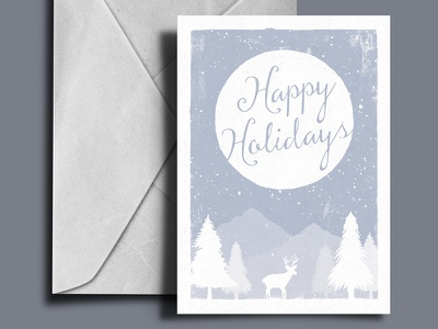 Christmas Card 2015 snow tree deer moon holiday cold winter print 2015 card christmas