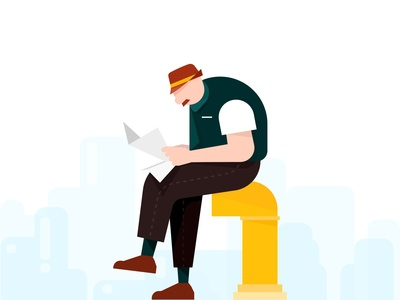 A man reading a newspaper read illustration design