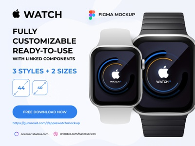 Apple Watch -  Figma Mockup vector figma design download flat ui interface ios uidesign uiux modern freebie clean design mockup watch apple watch design material apple