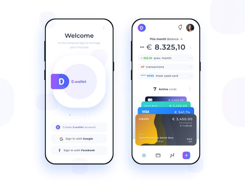 D.Wallet - Digital wallet and finance manager digital wallet clean modern design transaction bank finance wallet interface mobile app design ui uxui ux android ios app figma concept