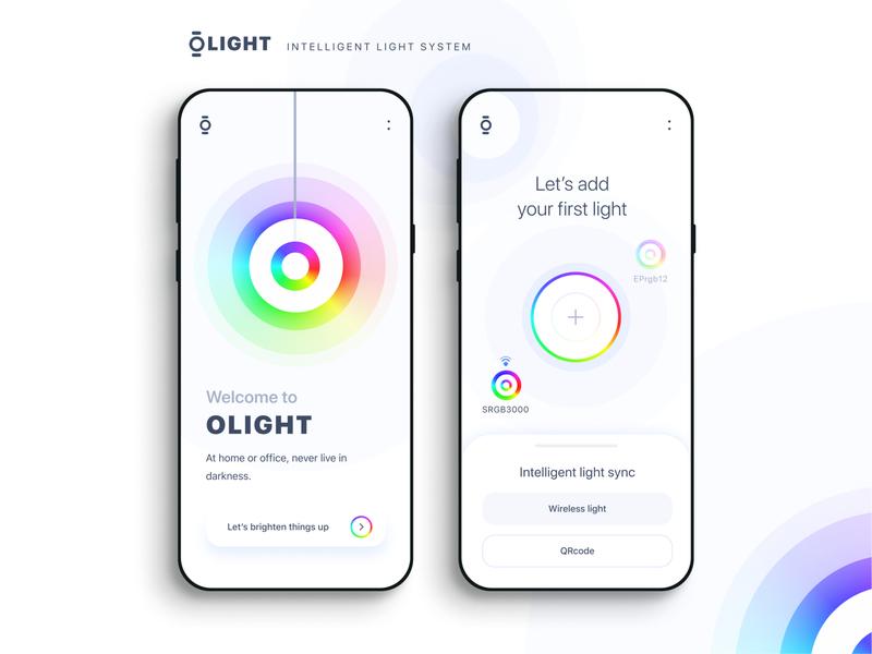 Olight -  Light system electricity power kelvin energy bulb lamp vector mobile uiuxdesign uiux modern interface figma ios minimalistic clean light app designer app android