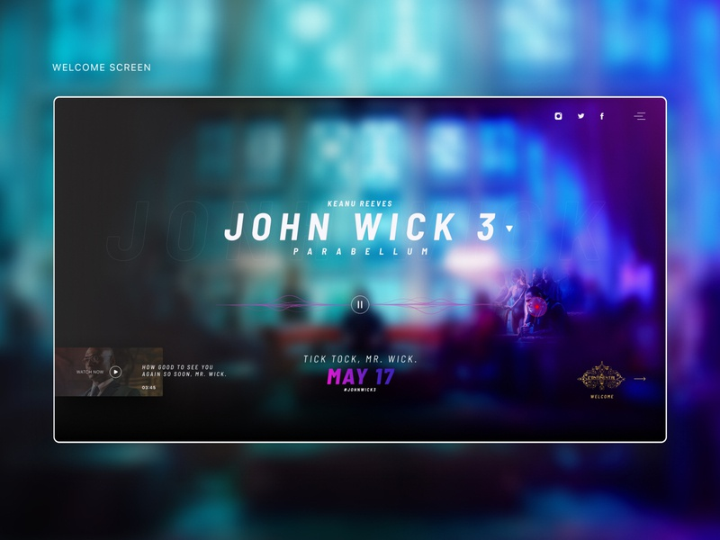 John Wick 3 - Fan website - concept mobile responsive design dark figma concept web uiuxdesign interface uidesign ux uiux ui webdesign website johnwick3 cinema film movie modern