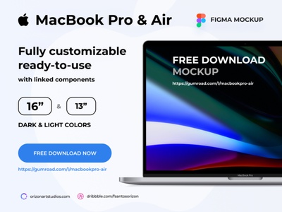 "Figma Mockup - Free MacBook Pro & Air 16""/13"" modern design ui design computer display vectors clean freebie free mockup macbook apple ios laptop uiux vector figma interface ui"