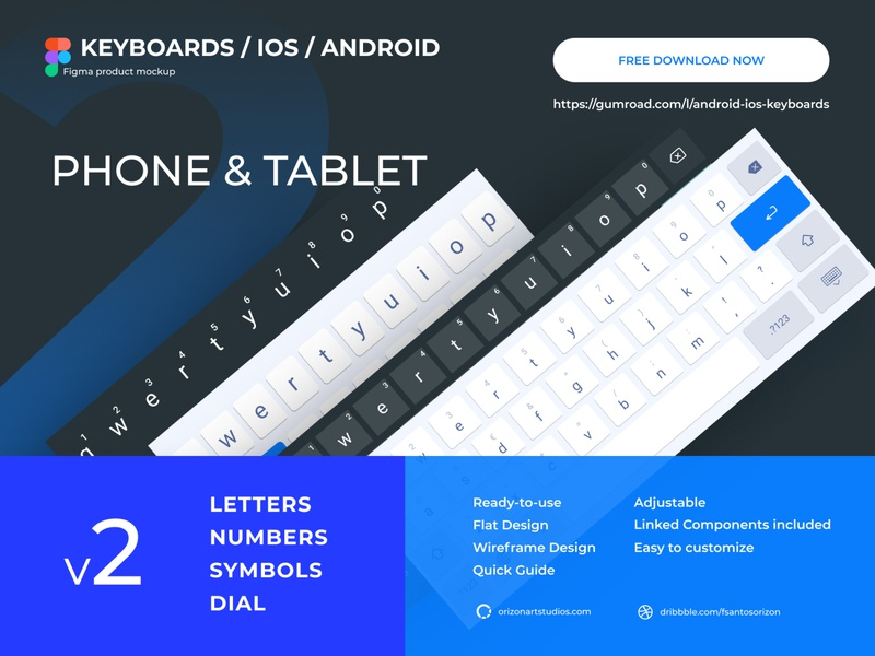 V2 - Android & IOS Keyboards (Tablet / Phone) - Figma Mockup download flat ui vector mobile ui ios interface android uidesign uiux modern phone tablet freebie clean design mockup figma material keyboard design material apple