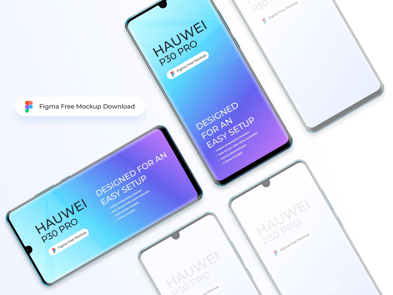 Figma - Free Huawei P30 Pro Mockup vector huawei uiux phone download mock-up mockup interface modern clean freebie