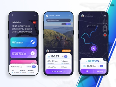 Torkbike App - Route search and share uidesign riding route ux design android ios interface dark figma uixu ui bicycle bike modern clean mobile concept app