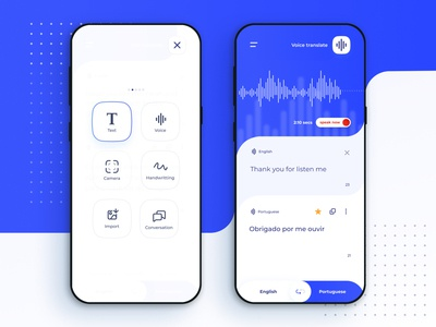 Google Translate app concept - Menu and Voice