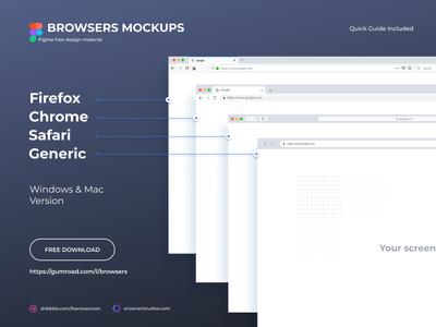 Browsers Mockups - Free Figma Download ui interface uiux vector figma browsers display modern mockup download realistic free freebie clean ui design material design