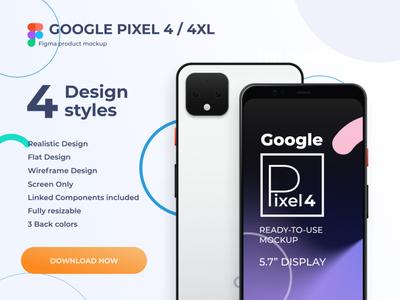 Google Pixel 4 - Figma Mockup download flat vector mobile ui interface design uiux modern phone mockups freebie clean design clean figma material pixel4 google pixel 4 google mockup mockup