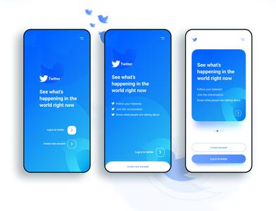 Twitter app concept  - Welcome screen ui twitter app concept appdesign figma design app uiux uidesigns mobile vector clean modern uiuxdesign interface uidesigner mobile ui blue ux uidesign