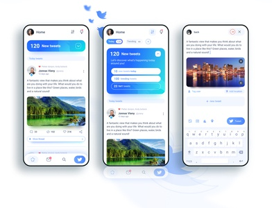 Twitter app concept  - Tweets and Post Screens uxdesign ux blue mobile ui uidesigns interface uiuxdesign modern clean vector mobile uidesign uiux appdesigner figma appdesign concept app twitter ui