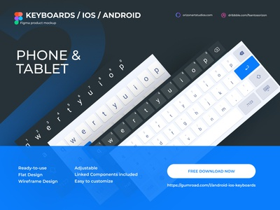 Android & IOS Keyboards (Tablet / Phone) - Figma Mockup apple design material keyboard figma material mockup clean design freebie tablet phone modern uiux uidesign android interface ios ui mobile vector flat download