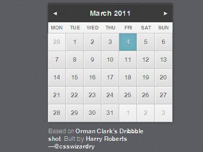 Calendar build ui calendar css3