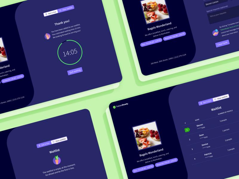 Waitlist reservation application web design tabelsready