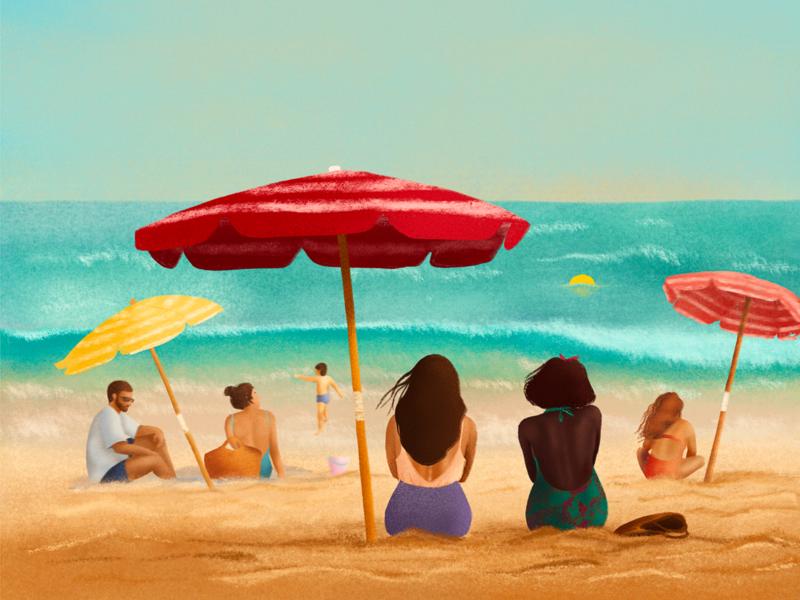 Day on a beach beach sea summer summer vibes procreate app procreate illustration
