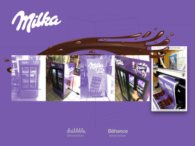 Freezer sticker - Milka Chocolate design sticker promotion marketing label illustration ice-cream grid adobe illustrator adhesive