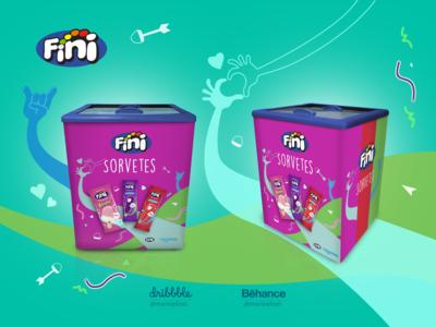 Freezer sticker - Fini - Ice Cream vector graphic  design sticker promotion marketing label illustration ice-cream grid adobe illustrator adhesive