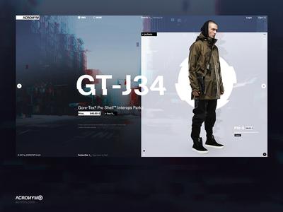 Acronym®. Main page. Concept. store shop concept web ux ui promo cyberpunk fashion ecommerc