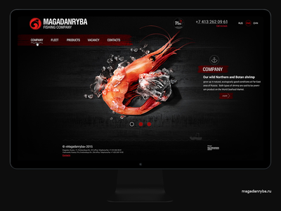 Magadanryba - fishing company promo site shop fishing ship seafood shrimp fish