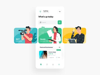Magny app - Explore page sydney application app design business mobile app mobile ui concept flat iran uiux uxui app ui app icon ui design ux ui illustration