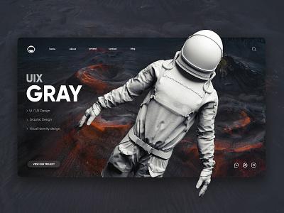 Uix Gray - Landing Page website ui website concept website web  design ui design gray landing page design web ui design web ui web ux ui
