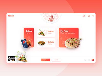Pitzam - Landing Page red logo fast food pizza logo pizza iran illustration xd design xd app web design webdesign website web branding ux ui