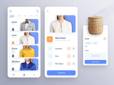 Laundry app minimal flat ui design blue app design typography concept illustration design icon laundry iran uxdesign ux design uidesign uiux mobile app ux ui