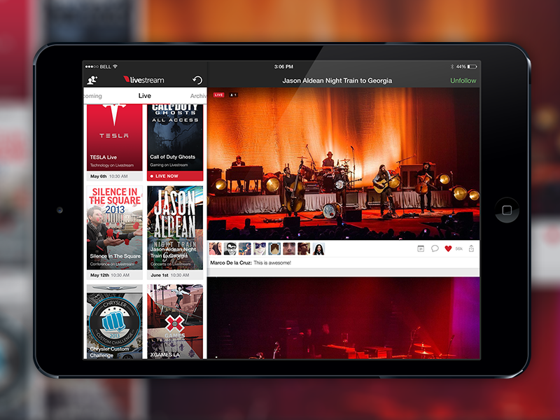 Livestream User Interface Refresh iPad livestream user interface ui ux refresh ios ios 7 ipad