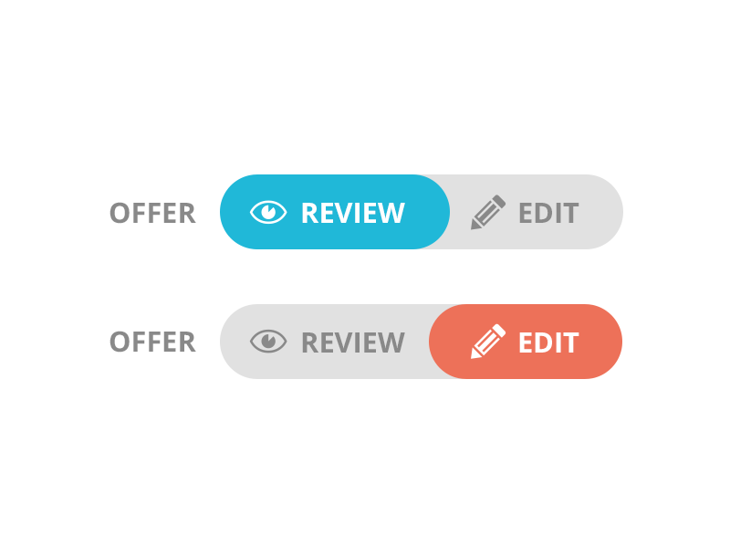 Offer Review switch button edit review offer toggle