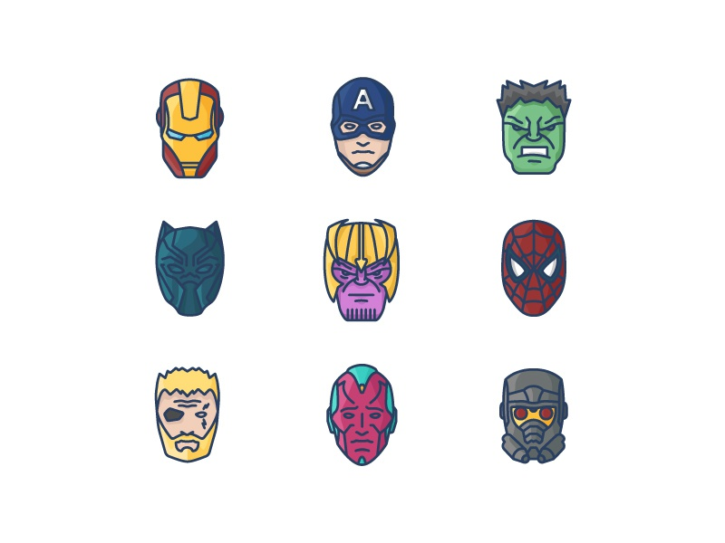Avengers Infinity War Icon Set (Colour) by George Sawyer on