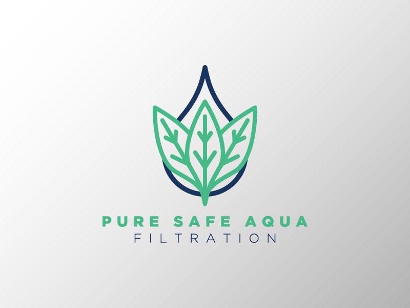 Pure Safe Aqua leaf water kentucky jpd identity logo branding