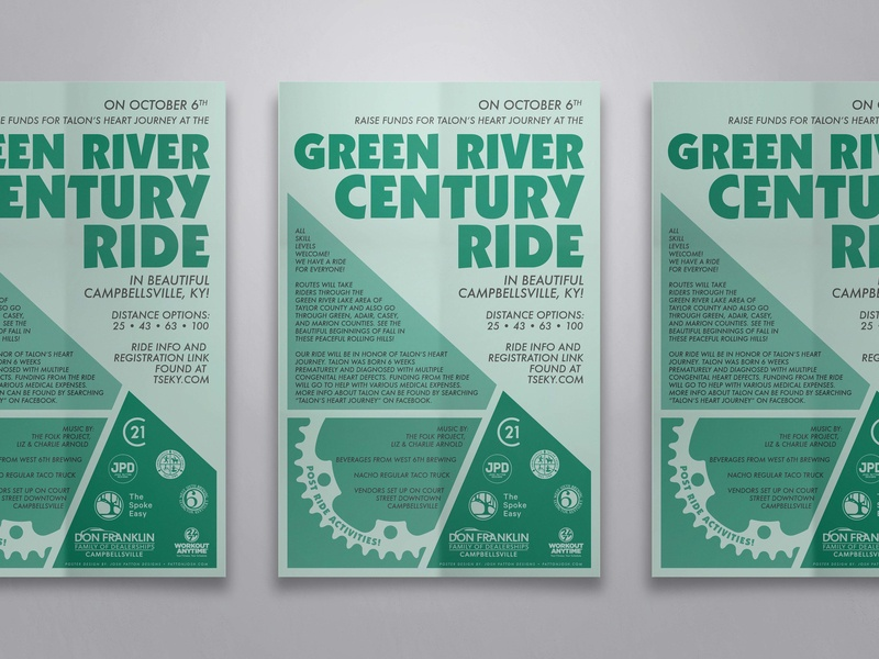 Green River Century Rider typography graphic outdoors poster graphic design kentucky illustration design