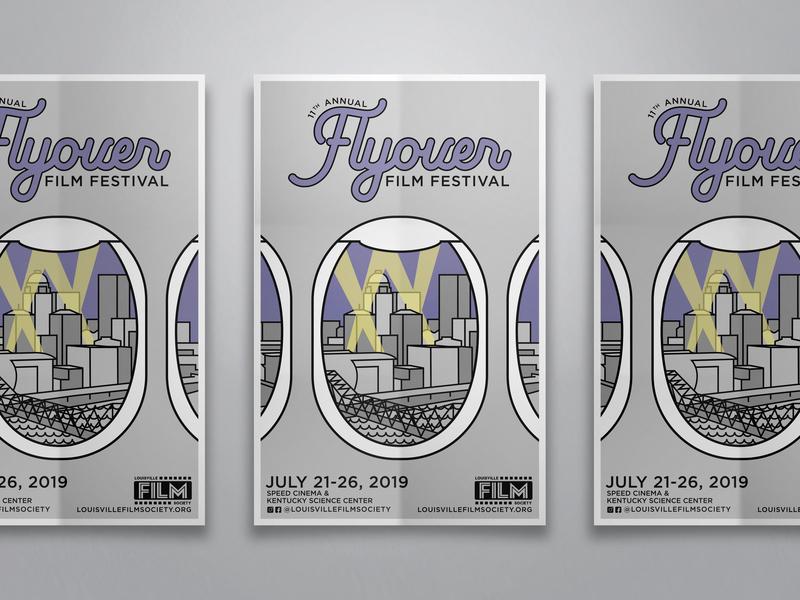 Flyover Film Festival Poster branding film film festival kentucky louisville line art festival poster design