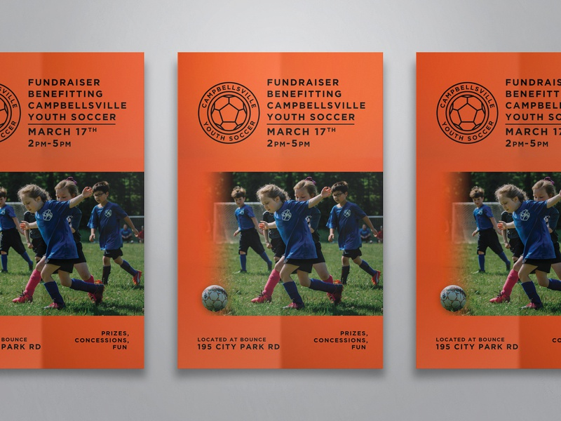 Campbellsville Youth Soccer Poster branding photography grid youth soccer kentucky poster design