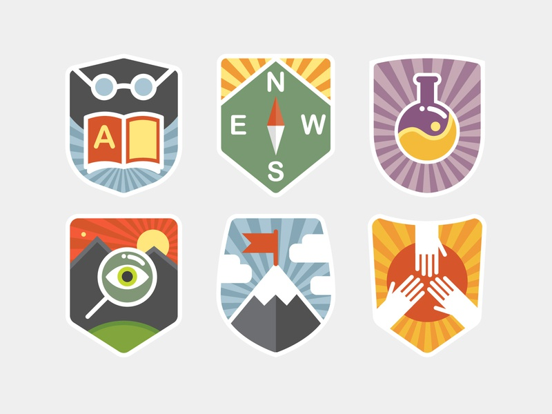Icons for digital learning platform gamification game online learning adobe illustrator achievement learning platform school shield icon