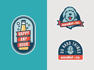 Sandlot + Co. Laptop Stickers sticker stickers badge design badge adagency agency icons icon design logo icon advertising design illustration vector illustrator