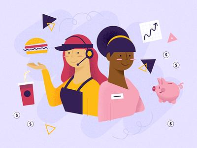 Women in QSR fast food qsr women design illustration vector illustrator