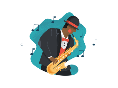 Jazzy vibes 🎷 character illustration character saxophone music jazz illustration vector illustrator