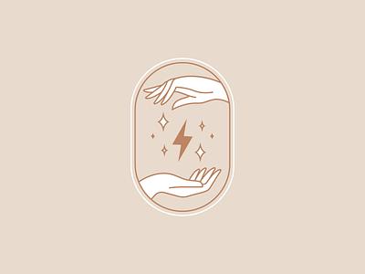 Sandlot Social Club Logo badgedesign badge lightning bolt lightning boho hands influencer marketing influencer social club social agency logo icon design icon branding advertising design illustration vector illustrator