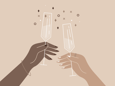 Cheers to 2021 🥂 illustration hands toast celebrate new years eve new years 2021 champagne cheers